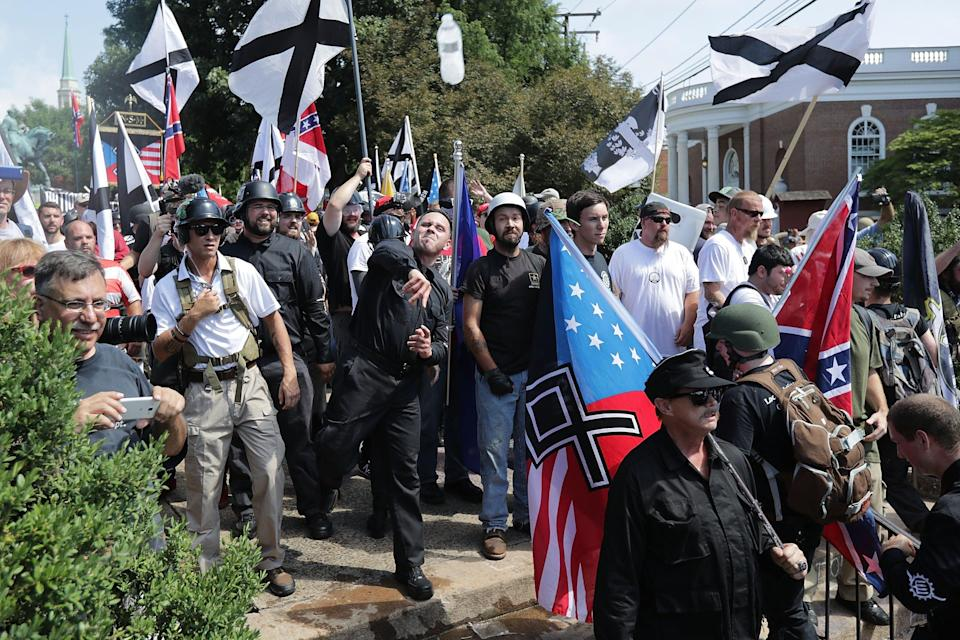 A white supremacist group is training for violence incase Donald Trump loses the election to Joe Biden. (Photo by Chip Somodevilla/Getty Images)