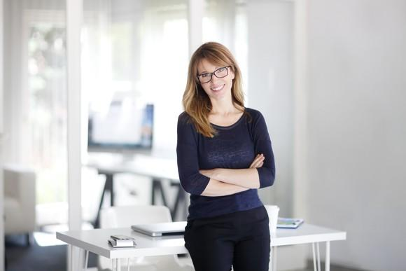 Smiling professional woman in front of a desk
