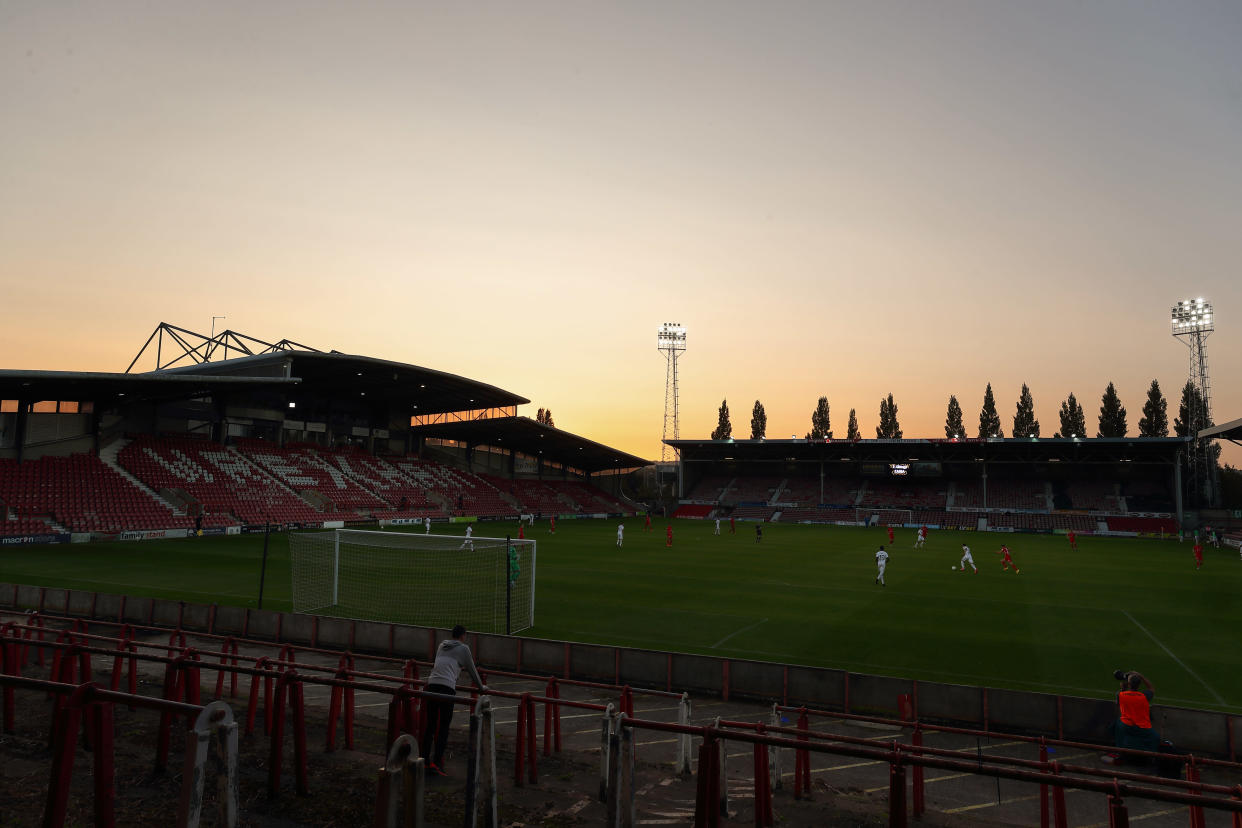 WREXHAM, WALES - SEPTEMBER 17: A General view of the Racecourse Ground home stadium of Wrexham AFC during the UEFA Europa League second qualifying round match between Connahs Quay Nomads and Dinamo Tbilisi at Racecourse Ground on September 17, 2020 in Wrexham, United Kingdom. (Photo by James Williamson - AMA/Getty Images)