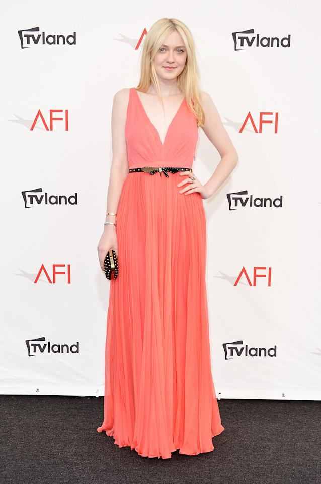 CULVER CITY, CA - JUNE 07:  Actress Dakota Fanning arrives at the 40th AFI Life Achievement Award honoring Shirley MacLaine held at Sony Pictures Studios on June 7, 2012 in Culver City, California. The AFI Life Achievement Award tribute to Shirley MacLaine will premiere on TV Land on Saturday, June 24 at 9PM ET/PST.  (Photo by Alberto E. Rodriguez/Getty Images)