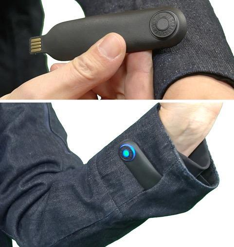 To charge the snap tag, you pull it out of the jacket and plug it into a USB jack.