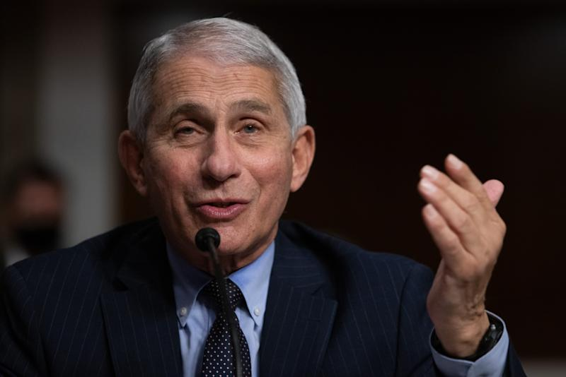 Dr. Anthony Fauci speaks into a microphone