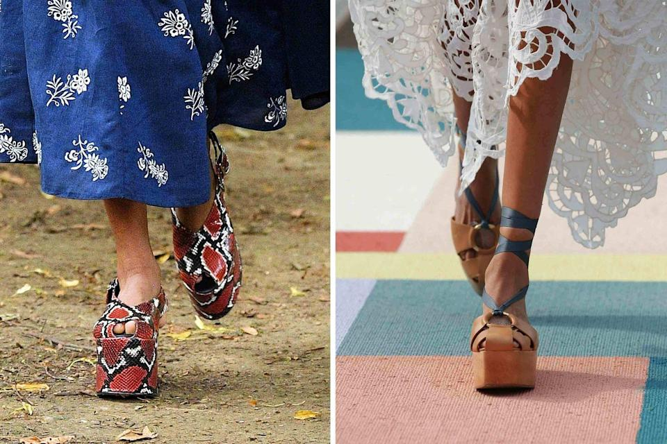 <p>For those craving a bit of elevation but who aren't really to get back in the stiletto saddle, platforms will be your new shoe go-to come spring. Natural elements like wood (shown at Ulla Johnson, <em>right</em>) and snakeskin (at Erdem, <em>left</em>) ground the otherwise disco-era shoe for more everyday wear.</p>