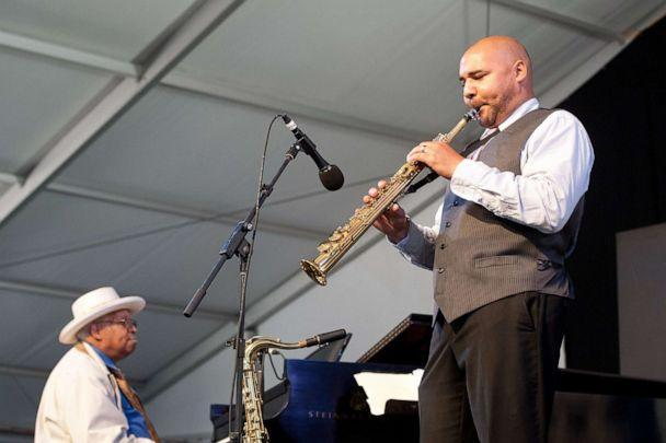 PHOTO: Left, Ellis Marsalis and Derek Douget perform during the 2013 New Orleans Jazz & Heritage Music Festival at Fair Grounds Race Course on May 5, 2013, in New Orleans. (Erika Goldring/WireImage via Getty Images, FILE)