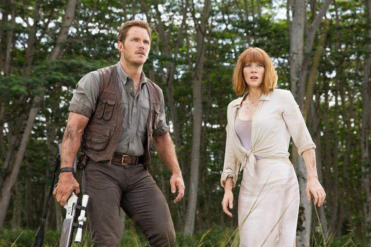 Chris Pratt and Bryce Dallas Howard in <em>Jurassic World.</em>