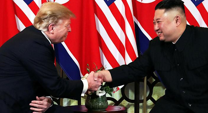 All smiles: Trump and Kim exchange pleasantries during their second meeting. (Reuters)