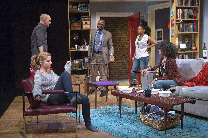 """This theater image released byThe Publicity Office shows, from left, Kerry Butler (seated), Kelly AuCoin, Russell G. Jones, Crystal A. Dickinson and Eisa Davis, in a scene from """"The Call,"""" a co-production by Playwrights Horizons and Primary Stages at Playwrights Horizons in New York.  (AP Photo/The Publicity Office, Jeremy Daniel)"""
