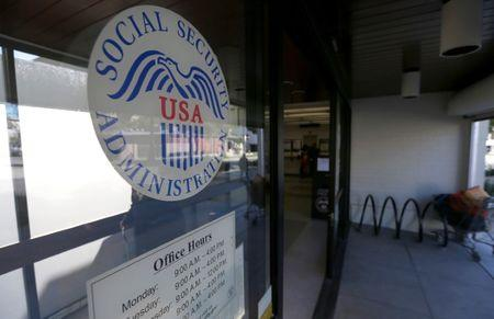 The entrance and logo of a Social Security Office in Pasadena, California U.S., March 14, 2017.   REUTERS/Mario Anzuoni