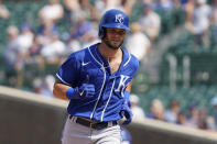 Kansas City Royals' Andrew Benintendi rounds the bases after hitting a solo home run in the sixth inning of a baseball game against the Chicago Cubs, Friday, Aug. 20, 2021, in Chicago. (AP Photo/Nam Y. Huh)
