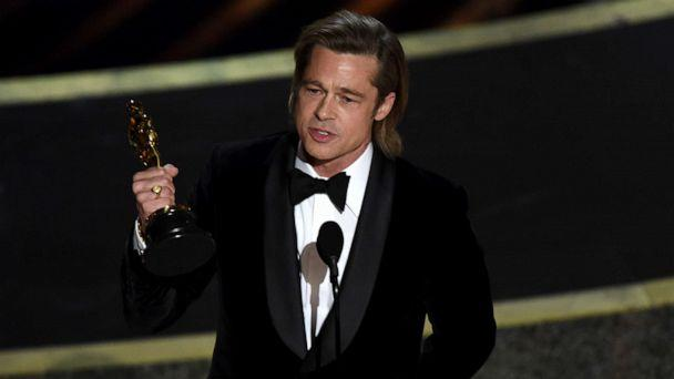 PHOTO: Brad Pitt accepts the award for Best Supporting Actor for 'Once upon a Time...in Hollywood' during the 92nd Oscars at the Dolby Theatre in Hollywood, Calif., Feb. 9, 2020. (Chris Pizzello/Invision/AP)