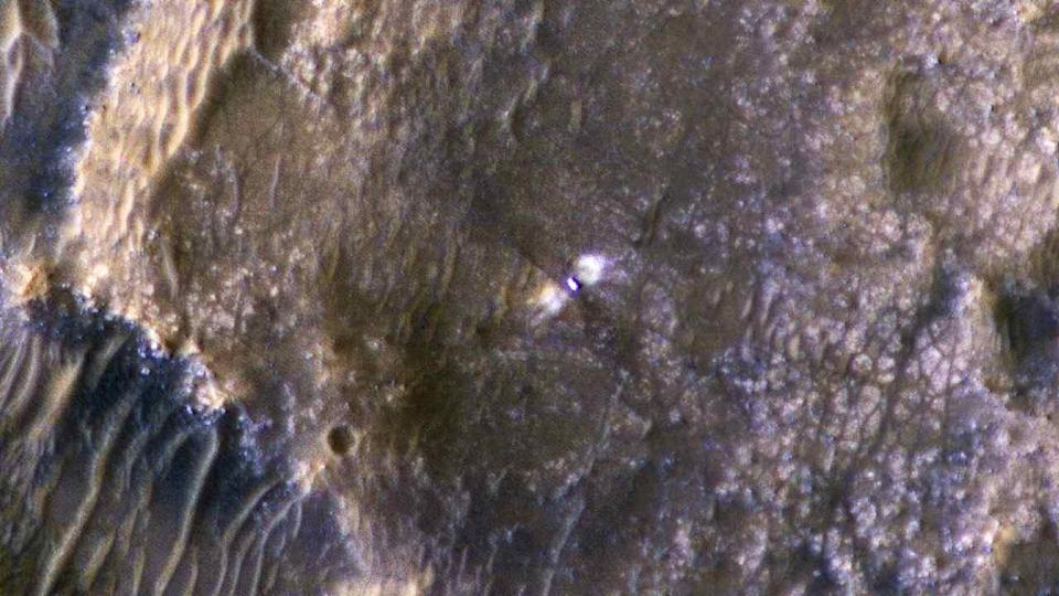 Perseverance rover and the Jezero Crater around it, as seen by HiRISE on 24 February. Image Credit: HiRISE: Beautiful Mars/Twitter
