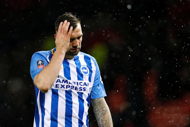 Soccer Football - FA Cup Quarter Final - Manchester United vs Brighton & Hove Albion - Old Trafford, Manchester, Britain - March 17, 2018 Brighton's Shane Duffy looks dejected after the match Action Images via Reuters/Jason Cairnduff
