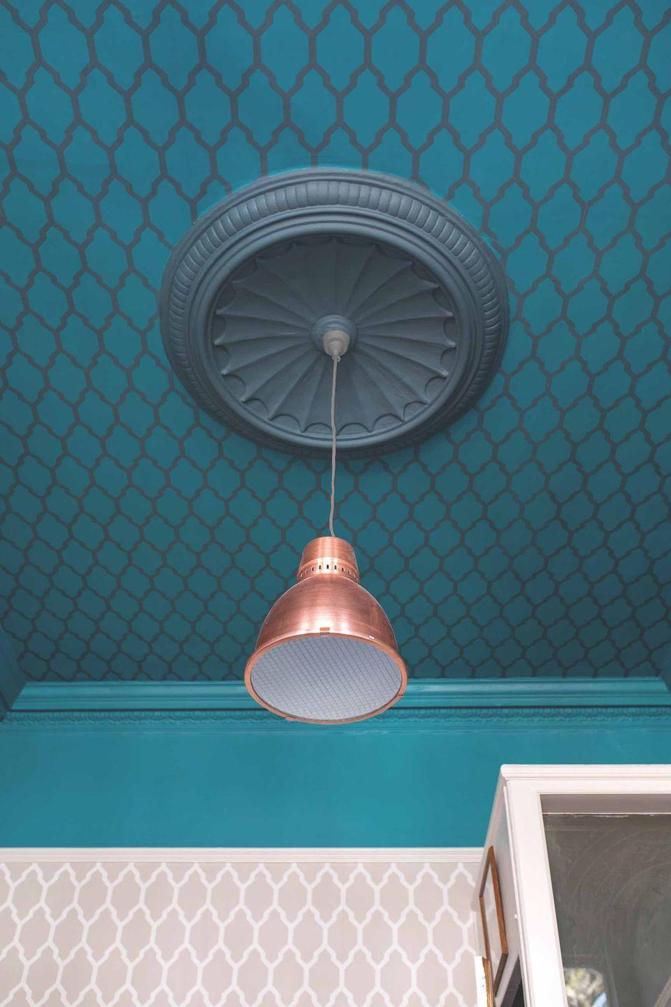 """<p>Don't forget about the ceiling. It's often just painted white and forgotten about, but decorating the ceiling can make a huge difference to a living room. Complete the look with a complementary wallpaper as seen here, or use something completely different.</p><p>Pictured: Tessella BP3608 on the ceiling and BP3601 on the walls, both <a href=""""https://go.redirectingat.com?id=127X1599956&url=https%3A%2F%2Fwww.farrow-ball.com%2Fwallpaper%2Ftessella&sref=https%3A%2F%2Fwww.housebeautiful.com%2Fuk%2Fdecorate%2Fliving-room%2Fg35838996%2Fliving-room-wallpaper-ideas%2F"""" rel=""""nofollow noopener"""" target=""""_blank"""" data-ylk=""""slk:Farrow & Ball"""" class=""""link rapid-noclick-resp"""">Farrow & Ball</a></p>"""