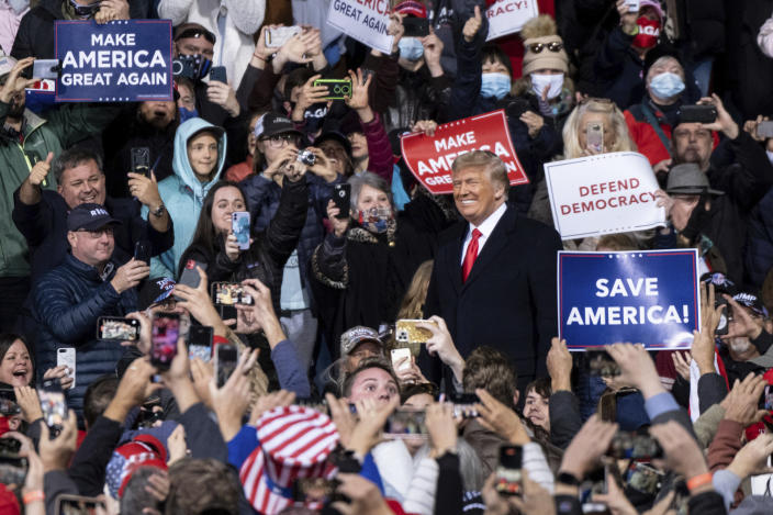 President Donald Trump arrives at a rally for U.S. Senators Kelly Loeffler, R-Ga., and David Perdue, R-Ga., who are both facing runoff elections Saturday, Dec. 5, 2020, in Valdosta, Ga. (Ben Gray/AP)