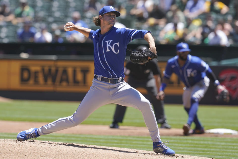 Kansas City Royals' Jackson Kowar pitches against the Oakland Athletics during the first inning of a baseball game in Oakland, Calif., Saturday, June 12, 2021. (AP Photo/Jeff Chiu)