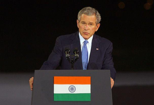 PHOTO: President George W. Bush delivers a speech at Purana Quila, a 16th century fort, in front of leading Indian businessmen and politicians in New Delhi, March 3, 2006. (Emmanuel Dunand/AFP via Getty Images, FILE)