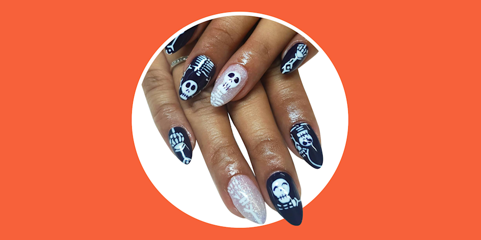 <p>Halloween is a time for you to get dressed up, wear your scariest (or goofiest) face makeup, and eat all the candy your li'l heart desires. But you know what else? Halloween is *also* a much-welcomed opportunity to spice up your nail art game. Like, who doesn't love an excuse to have super cute ghosts painted onto their fingers? Or some edgy 'blood' dropping from their tips? Or, if you're on the subtle side, the chance to incorporate a Halloween-themed palette into your repertoire? (Think orange, black, white, and green) </p><p>And, if you're not into going all-out on the halloween costumes or decor, Halloween nails are an easy way to show your holiday spirit without having to go overboard. Basically, Halloween is <em>the </em>time to try all kinds of designs and styles on your nails. And, it's never too early to start planning Whether you're into scary or subtle or cute, keep scrolling for 35 different Halloween nail art ideas you'll want to steal ASAP. Get ready to feel ~festive~, you guys. </p>
