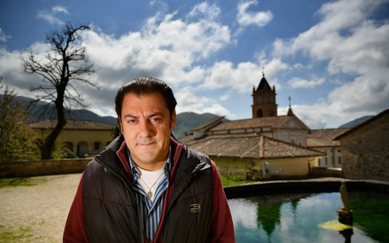 Benjamin Harnwell at the Trisulti monastery south of Rome - AFP