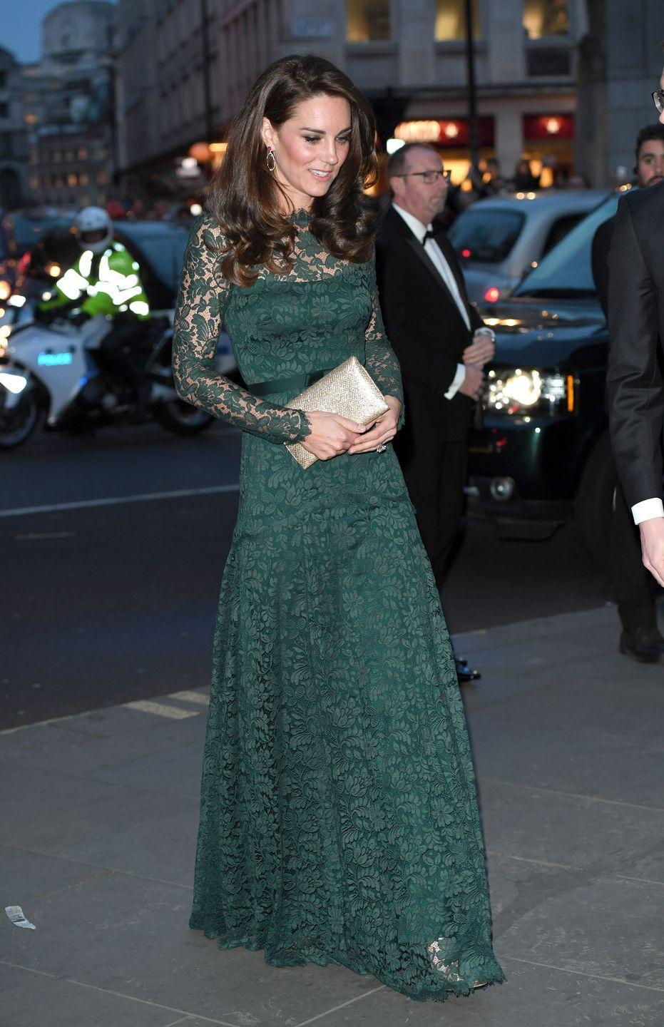 <p>Arriving at the National Portrait Gallery's 2017 Portrait Gala, one of the most anticipated events of the year, Duchess Kate chose a pine green, floor-length gown by Temperley London. She paired her slim-fitting, lace dress with a gold clutch from Wilbur & Gussie and gold heels by Jimmy Choo.</p>