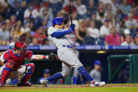 Chicago Cubs' Rafael Ortega hits an RBI-double off Philadelphia Phillies pitcher Kyle Gibson during the fifth inning of a baseball game, Tuesday, Sept. 14, 2021, in Philadelphia. (AP Photo/Matt Slocum)