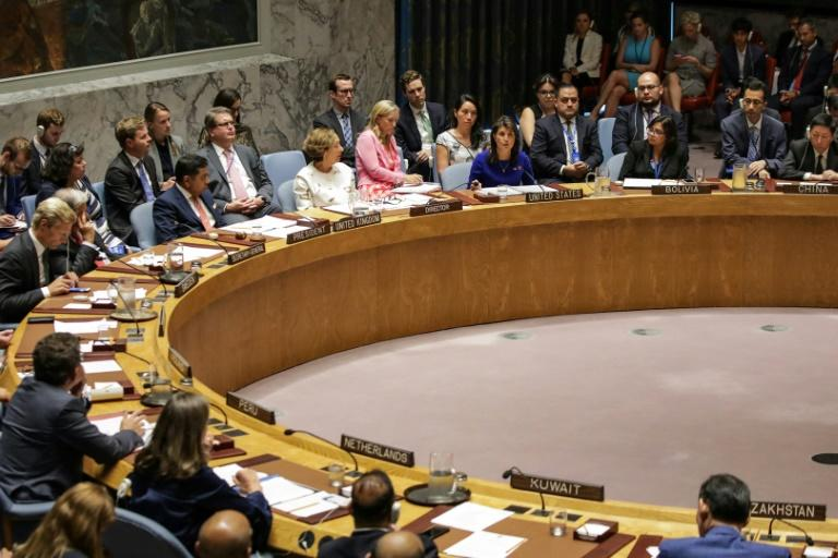 US ambassador to the UN Nikki Haley speaks during the Security Council meeting on the situation in Myanmar
