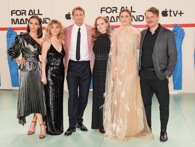 "WESTWOOD, CALIFORNIA - OCTOBER 15: (L-R) Jodi Balfour, Sarah Jones, Joel Kinnaman, Wrenn Schmidt, Shantel Vansanten and Michael Dorman attend the world premiere of Apple TV+'s ""For All Mankind"" at Regency Village Theatre on October 15, 2019 in Westwood, California. (Photo by Rachel Luna/FilmMagic)"