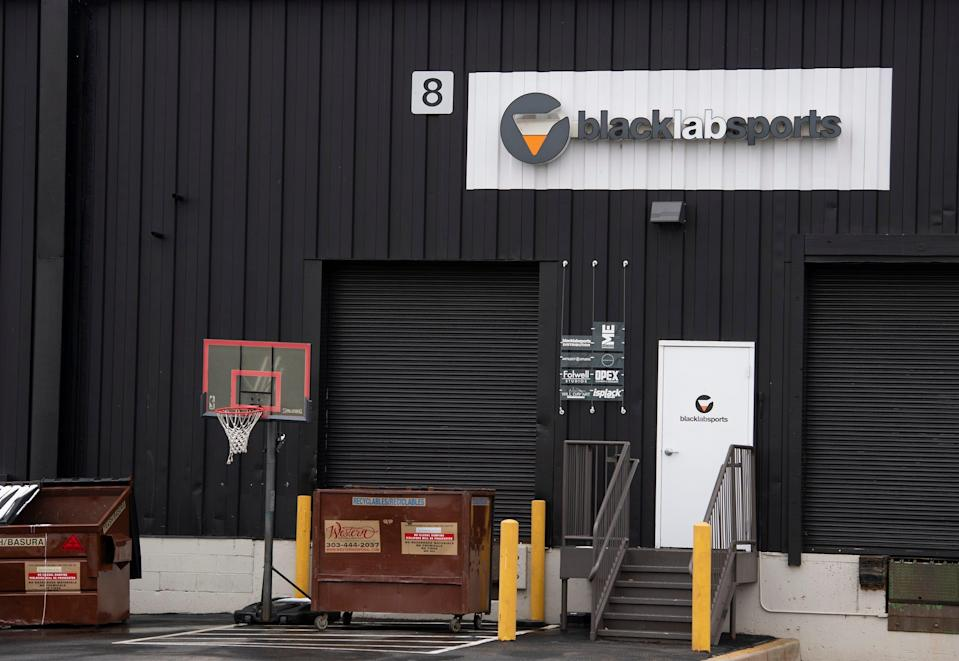 The entrance to Black Lab Sports is seen in Boulder, Colorado.