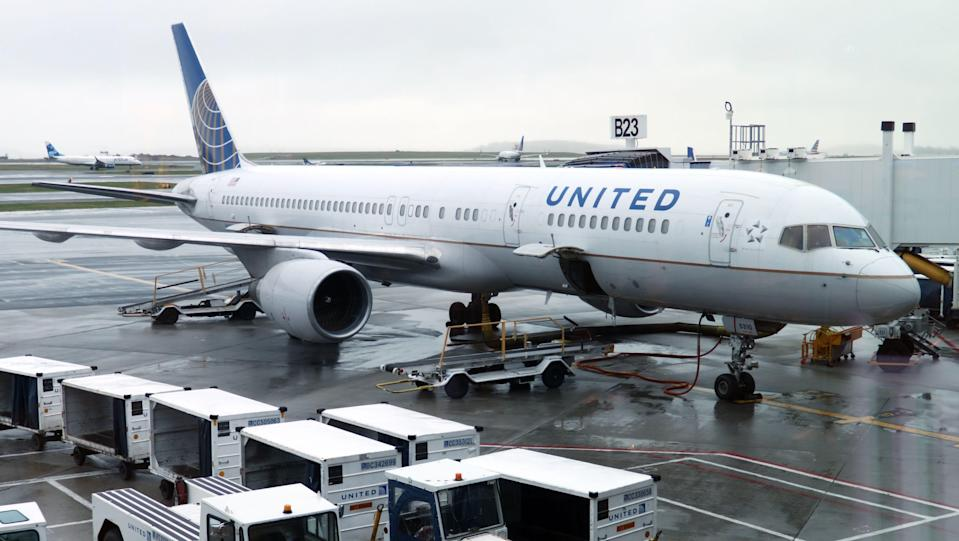A United Airlines plane is parked at Boston Logan International Airport in this file photo from 2019.