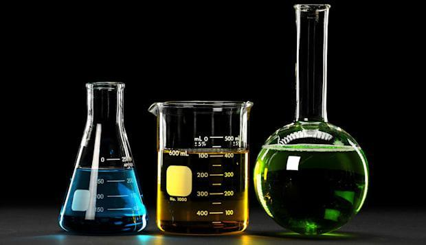 BXT8DK Laboratory glassware with liquids of different colors  laboratory; glassware; research; science; medical; test; medicine;