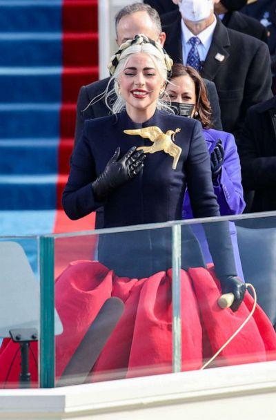 PHOTO: Lady Gaga sings the National Anthem at the inauguration of President-elect Joe Biden on the West Front of the U.S. Capitol on Jan. 20, 2021, in Washington, D.C. (Rob Carr/Getty Images)