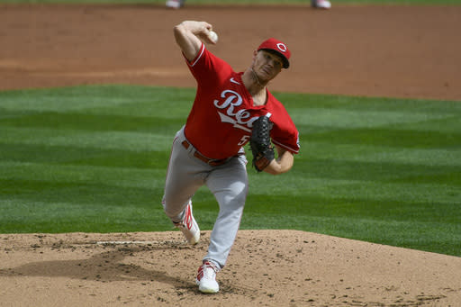 Cincinnati Reds pitcher Sonny Gray throws against the Minnesota Twins during the first inning of a baseball game Sunday, Sept. 27, 2020, in Minneapolis. (AP Photo/Craig Lassig)