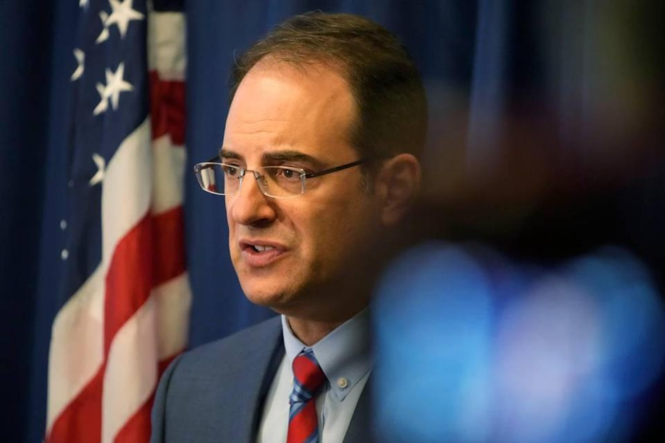 Colorado Attorney General Phil Weiser makes a point at a news conference in Denver, Wednesday, Sept. 15, 2021. Weiser says a civil rights investigation begun amid outrage over the death of Elijah McClain has determined that the Aurora, Colo., Police Department has a pattern of racially-biased policing. (AP Photo/David Zalubowski)