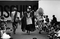 <p>Models parade down the catwalk at Franco Moschino's 1986 ready-to-wear show. </p>