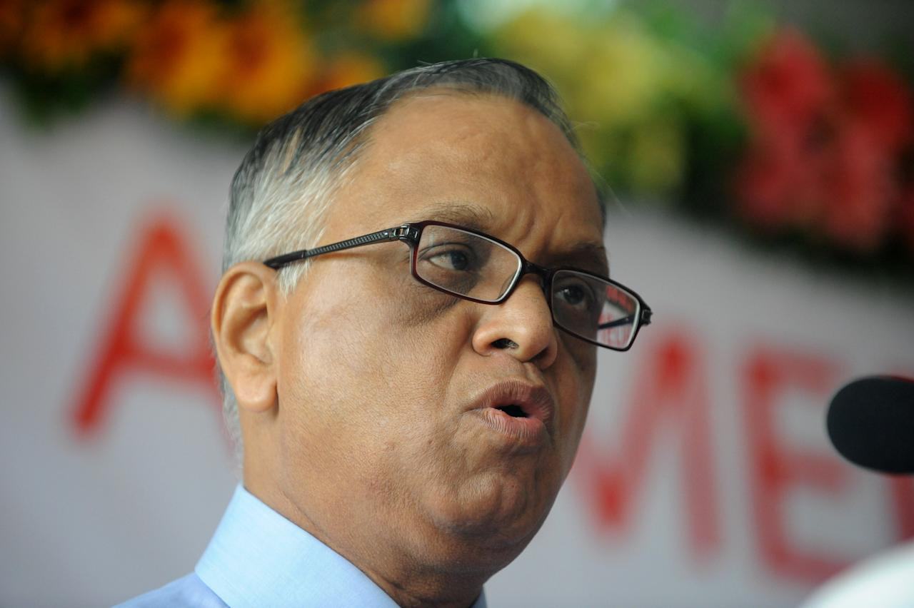 Chairman and Chief Mentor of Indian software company Infosys, N. R. Narayana Murthy addresses students at a convocation of Ahmedabad University in Ahmedabad on July 18, 2011. Murthy was the chief guest at the first convocation of the institution in the western India state of Gujarat. AFP PHOTO/Sam PANTHAKY