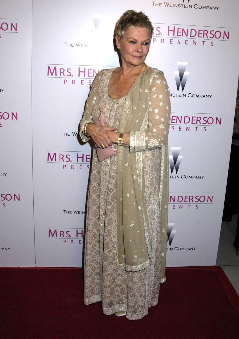 <p>In <em>Mrs. Henderson Presents, </em>Dench portrayed Laura Henderson in the British-American biographical musical film. She received an Oscar nomination for the role.</p>