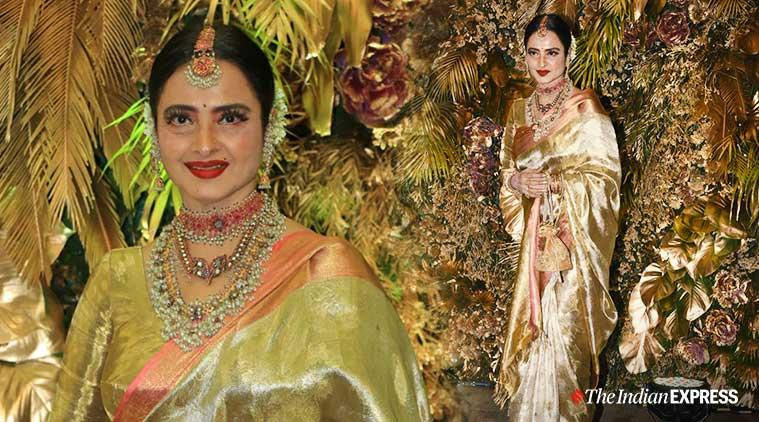 rekha, rekha at armaan jain wedding, rekha sari looks, rekha photos, rekha latest pics
