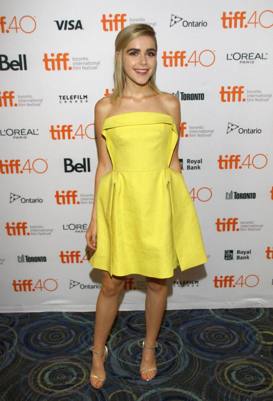 "<p>Kiernan Shipka looked 15 years young (which she is) at the ""February"" photo call during the 2015 Toronto International Film Festival in a brighter-than-the-sun yellow strapless dress.</p>"