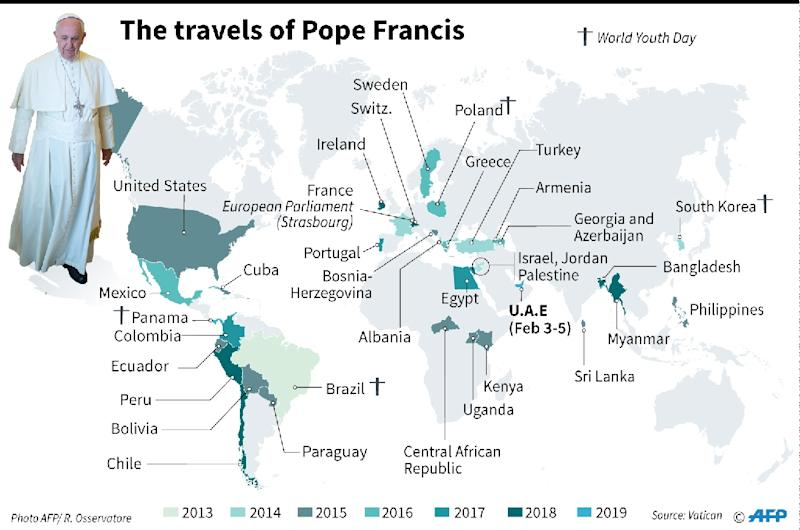 Map showing the trips of Pope Francis since the start of his papacy. (AFP Photo/Laurence SAUBADU, Jonathan STOREY)