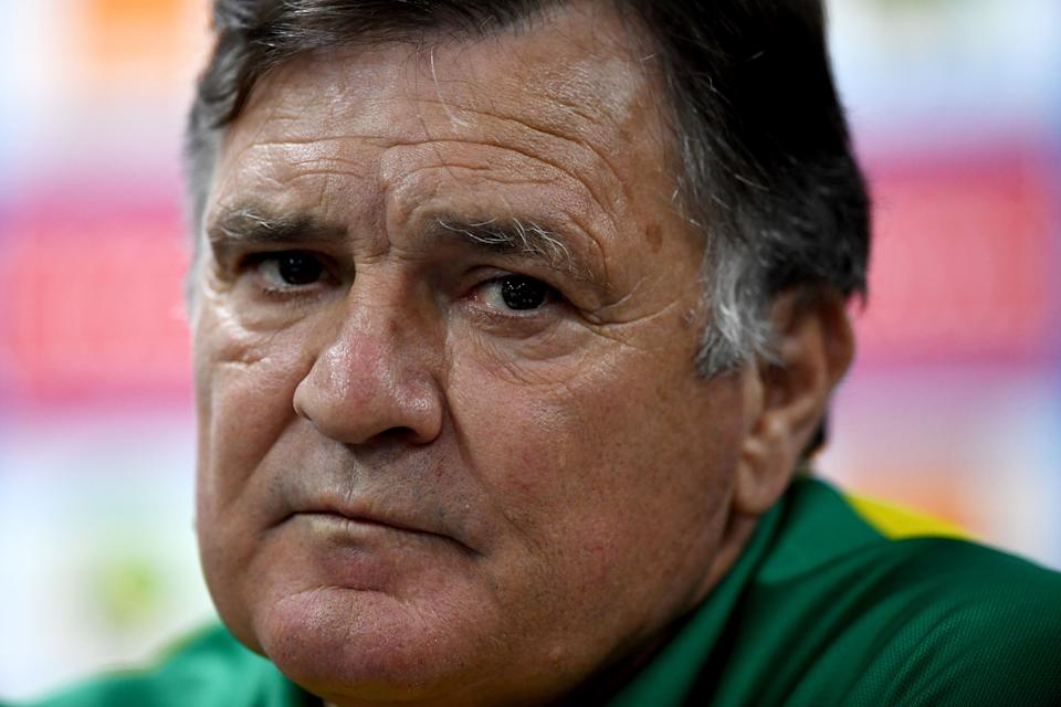 Gabon's Spanish coach Jose Antonio Camacho looks on during a press conference in Libreville on January 17, 2017 during the 2017 Africa Cup of Nations football tournament in Gabon. / AFP / GABRIEL BOUYS        (Photo credit should read GABRIEL BOUYS/AFP via Getty Images)