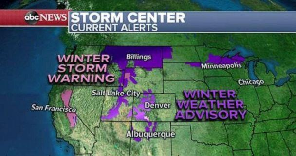 PHOTO: A storm in the western US is bringing heavy rain, gusty winds and mountain snow from California to the Rocky Mountains this morning. (ABC News)