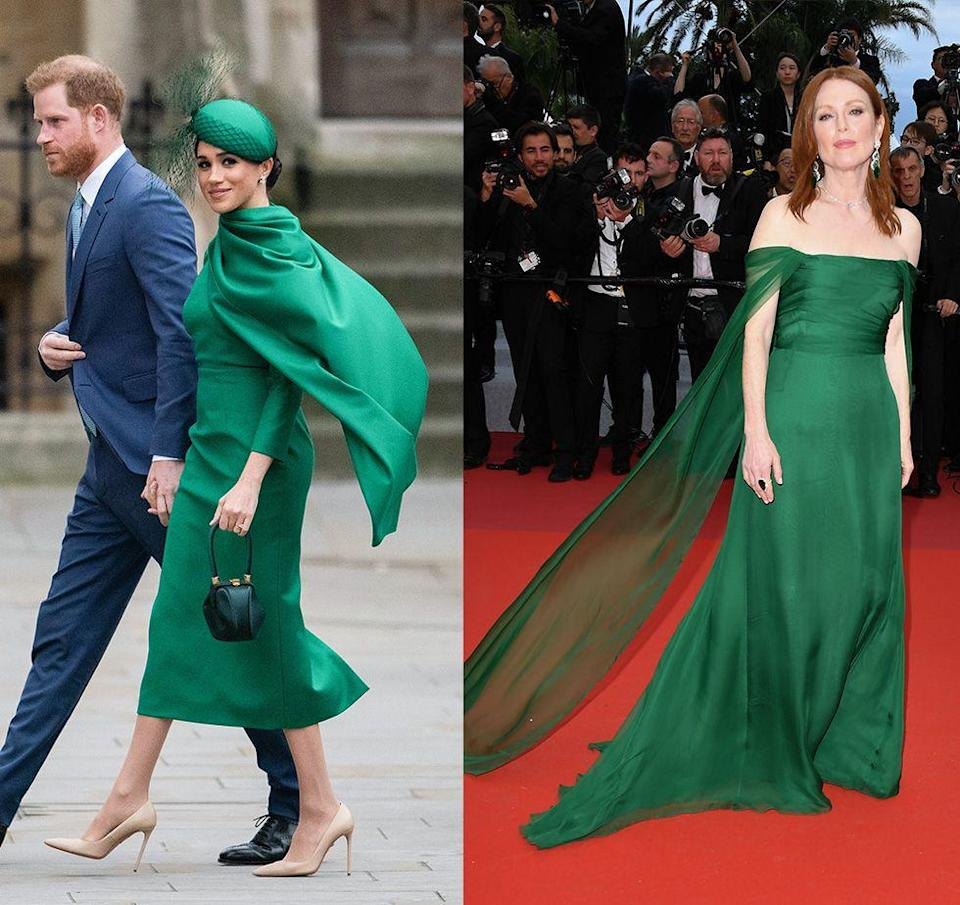 "<p>There were so many things we loved about Meghan Markle's style during the Commonwealth Day celebrations in March 2020, but we were particularly drawn to her emerald <a href=""https://www.harpersbazaar.com/celebrity/latest/a31250735/meghan-markle-green-dress-commonwealth-day-2020/"" rel=""nofollow noopener"" target=""_blank"" data-ylk=""slk:Emilia Wickstead cape dress"" class=""link rapid-noclick-resp"">Emilia Wickstead cape dress</a>, which was strikingly similar to the Dior gown Julianne Moore wore to the Cannes Film Festival in 2019. </p>"