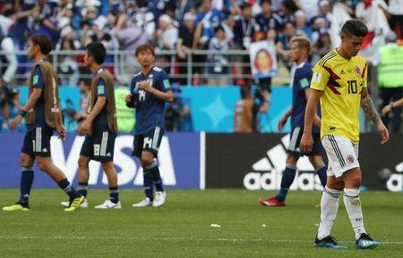 Soccer Football - World Cup - Group H - Colombia vs Japan - Mordovia Arena, Saransk, Russia - June 19, 2018 Colombia's James Rodriguez looks dejected after the match REUTERS/Ricardo Moraes