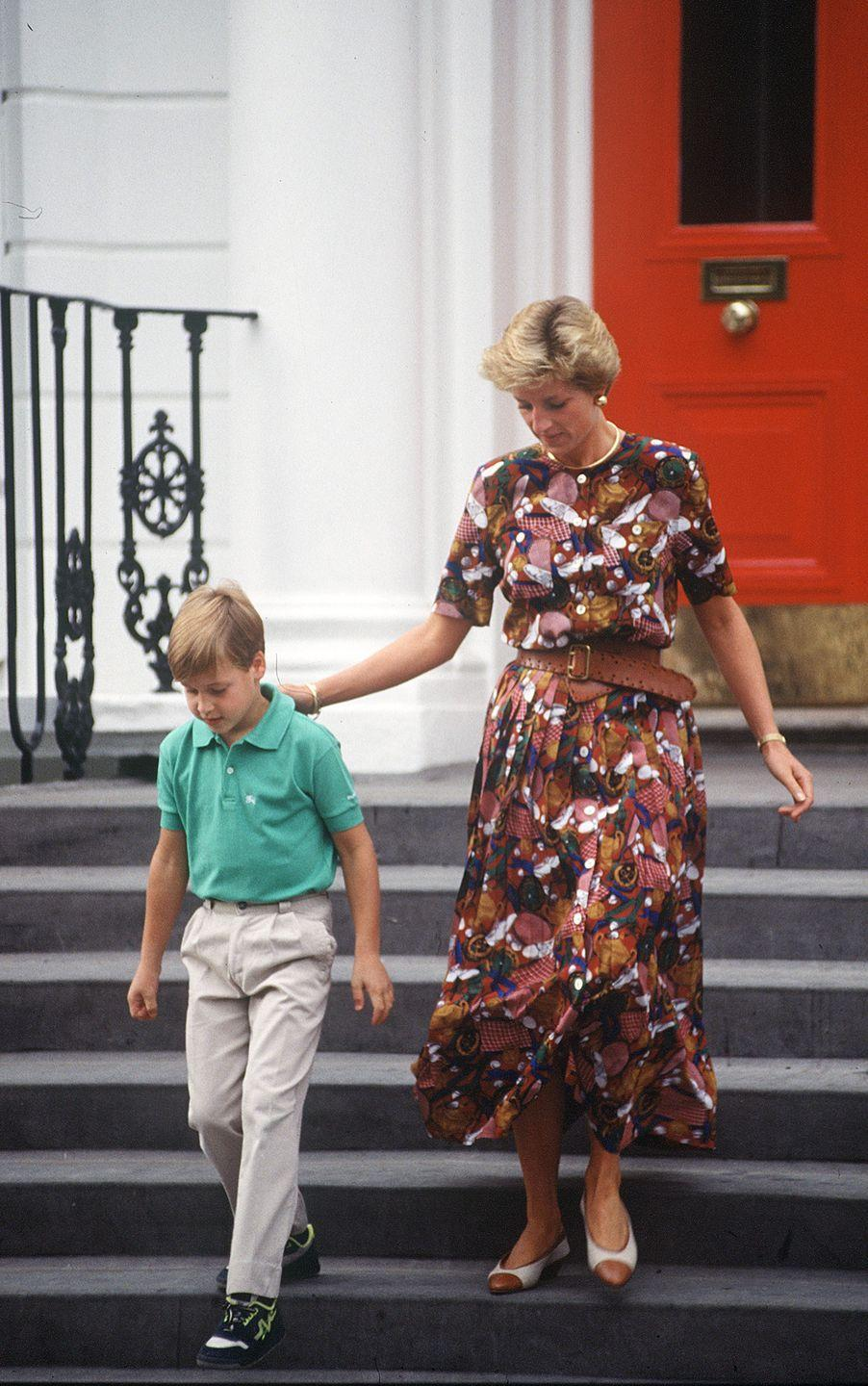<p>The Princess of Wales put on a whimsical outfit while taking Prince William to school. Her unique dress includes sneakers, baseballs, trophies, and hints of a red and white gingham print. </p>