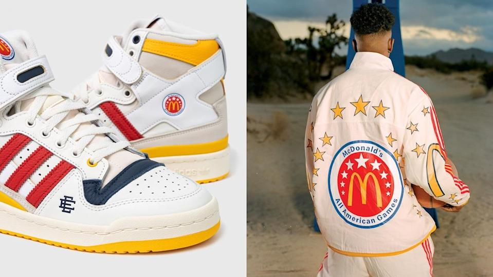 Adidas' McDonald's All American sneakers next to a photo of a man wearing the same apparel jumpsuit