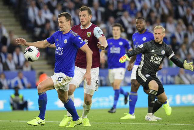 Burnely's would-be equaliser was disallowed after VAR ruled Chris Wood fouled Jonny Evans. (Photo by Chris Vaughan - CameraSport via Getty Images)