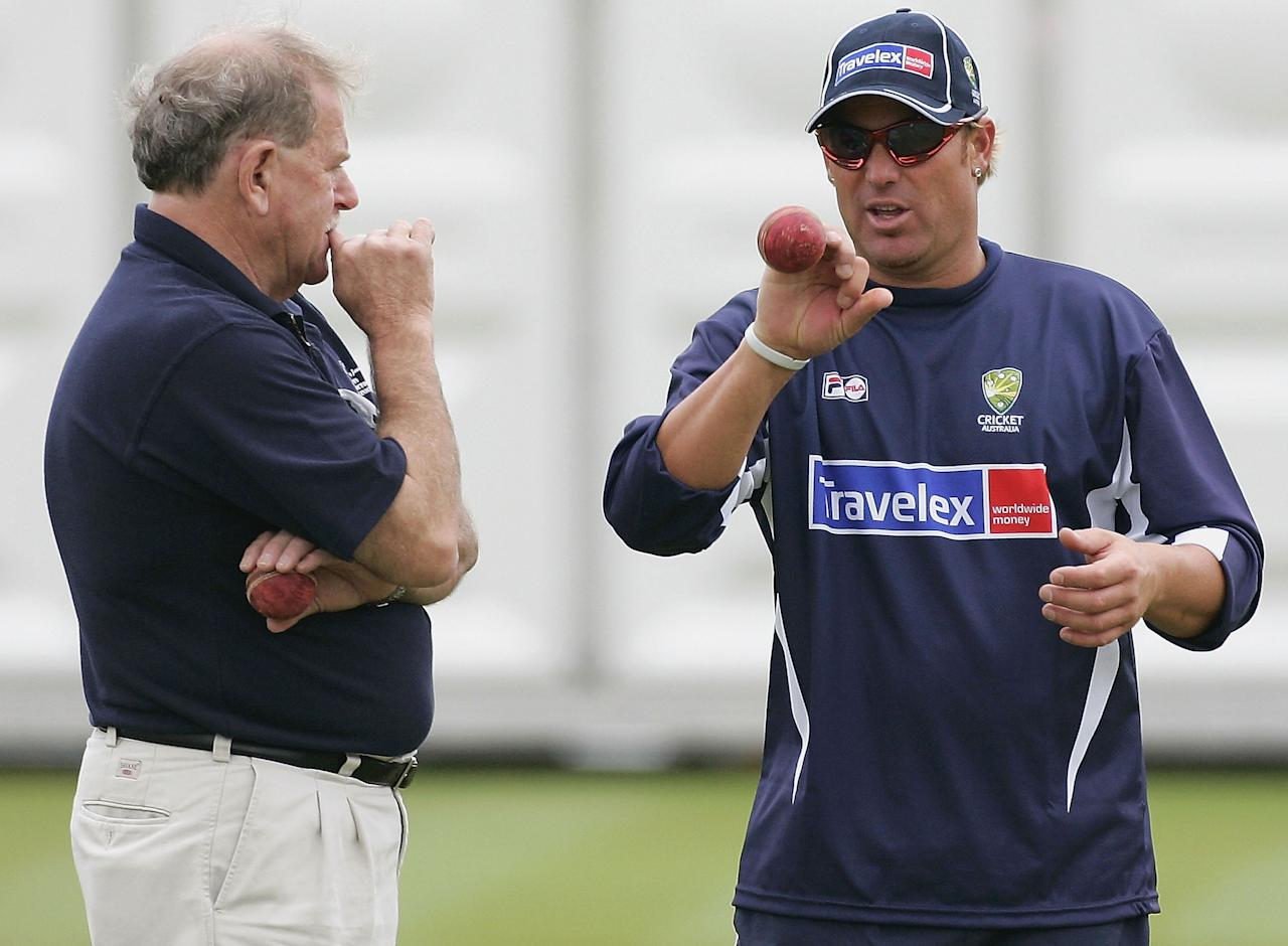 LONDON - JULY 19:  Shane Warne of Australia chats with his mentor Terry Jenner during training at Lord's Cricket Ground on July 19, 2005 in London, United Kingdom  (Photo by Hamish Blair/Getty Images)