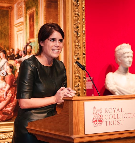 <p>Princess Eugenie's Topshop faux-leather look is a twist on the timeless shift dress silhouette. The royal kept her accessories simple, creating a minimalist, modern look. Her look may be sold out, but scroll through our gallery for similar leather inspired styles! </p>
