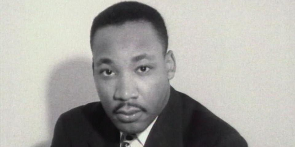 Martin Luther King Jr. in a still from the documentary <em>MLK/FBI</em>. (Photo: Courtesy of TIFF)