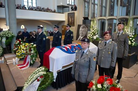 An honour guard made of Police and Federal Armed Force officers stands next to the coffin of the Kassel District President, Walter Luebcke, who was shot, during his funeral at the St. Martin Church in Kassel