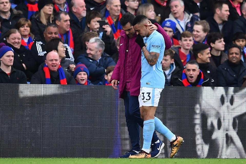 Manchester City striker Gabriel Jesus suffered medial ligament damage to his left knee on January 31 and has only returned with three short cameos off the bench in the past week (AFP Photo/Glyn KIRK )